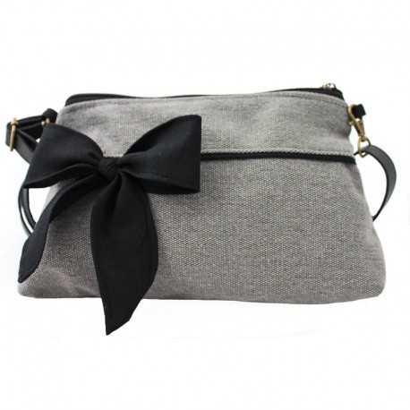 Mini sac bandoulière femme gris noeud noir 895fa5656b4