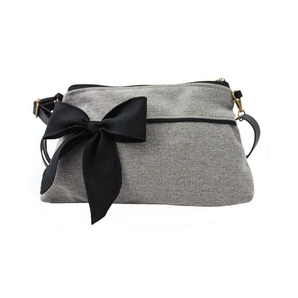 Sac à Bandoulière Femme Gris : Mini sac bandouli?re femme gris noeud noir