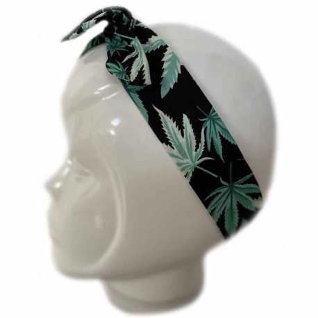 Bandeau cheveux feuilles de cannabis vertes