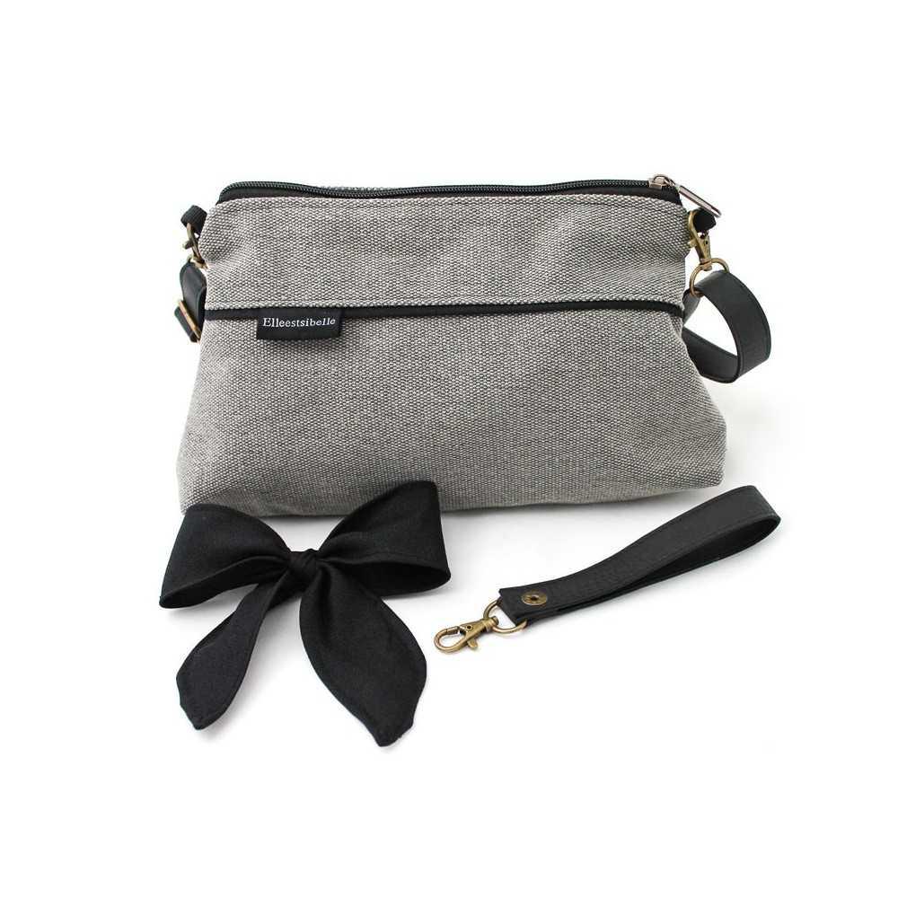 mini sac bandouli re femme gris noeud noir