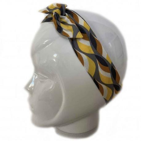 Bandeau cheveux jaune et gris