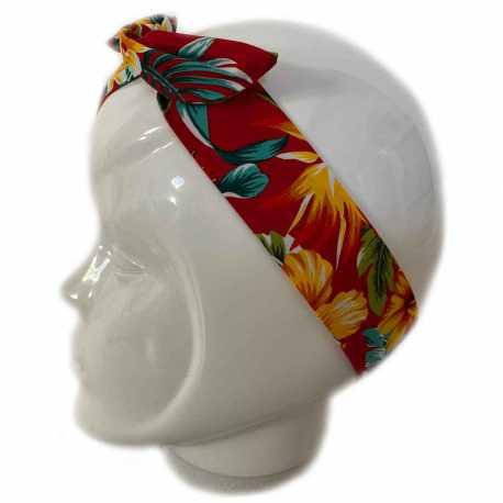 Bandeau cheveux hawaïen rouge
