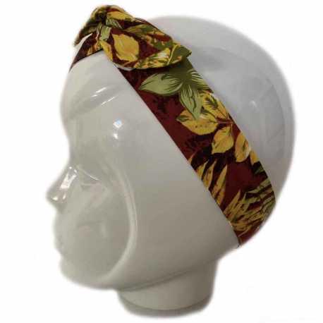 Bandeau cheveux marron à feuilles jaunes