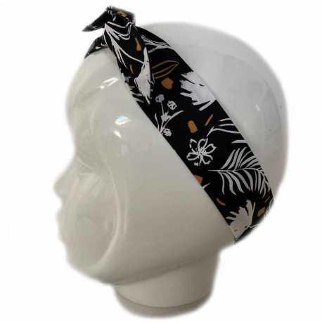 Bandeau cheveux noir feuillage blanc
