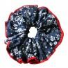 Chouchou cheveux bleu marine à fleurs