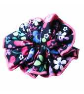 Chouchou cheveux bleu marine et rose à fleurs