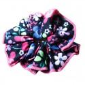 Chouchou bleu marine et rose à fleurs