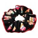 Chouchou noir et rouge motif fantaisie