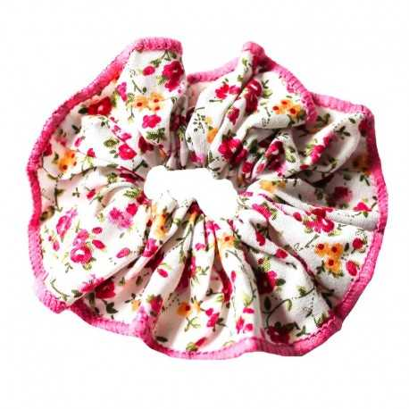 Chouchou fleuri écru et rose