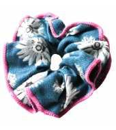 Chouchou fleuri bleu et rose