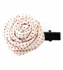 Barrette originale rose écrue à pois rouge