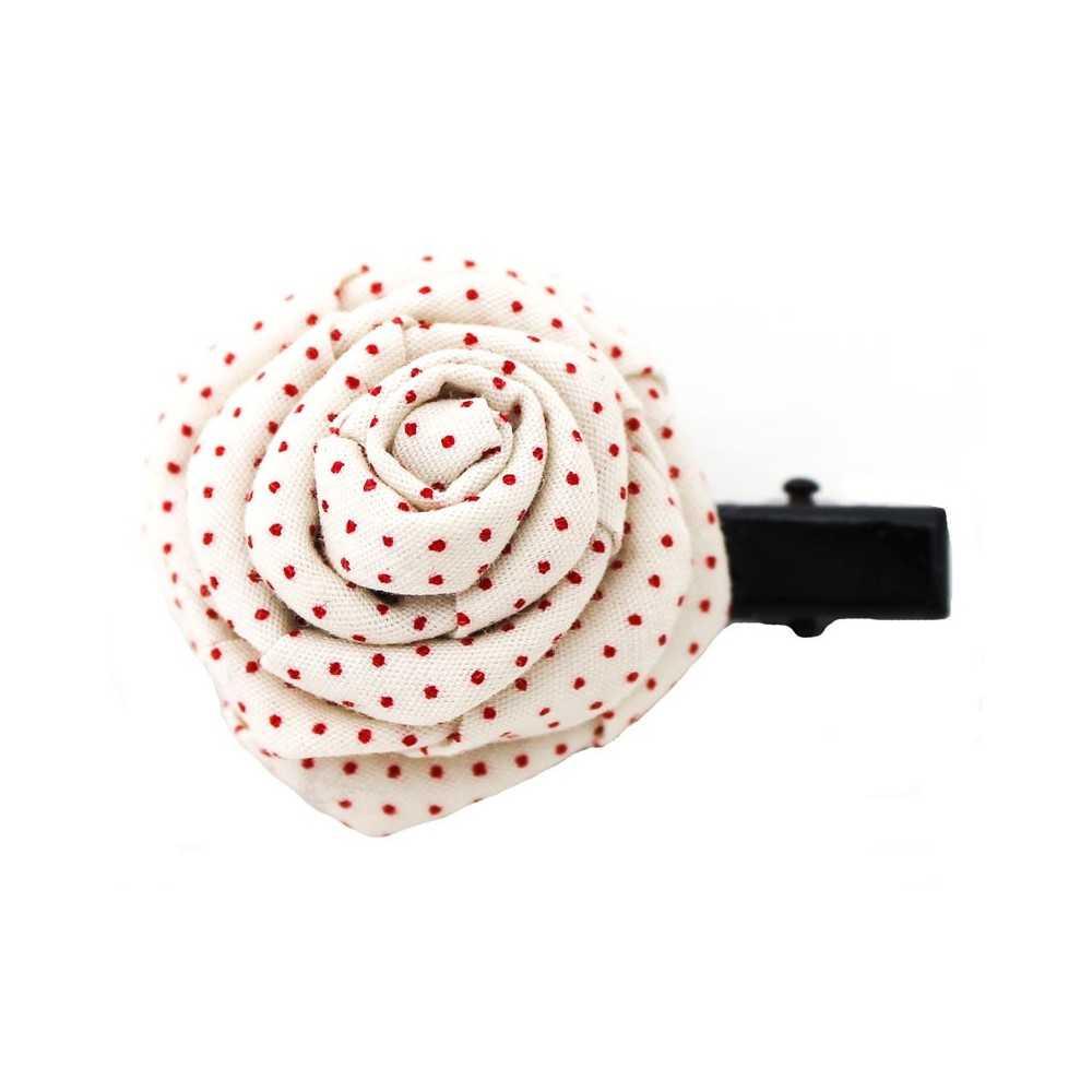 barrette originale en forme de rose crue pois rouge. Black Bedroom Furniture Sets. Home Design Ideas