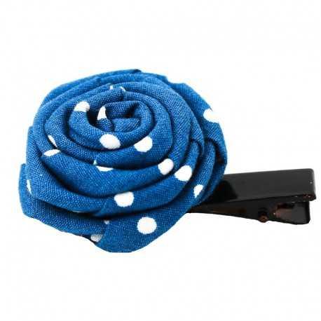 Barrette originale rose bleue à pois blancs