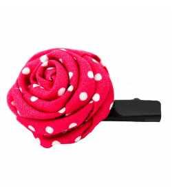 Barrette originale rose framboise à pois blancs