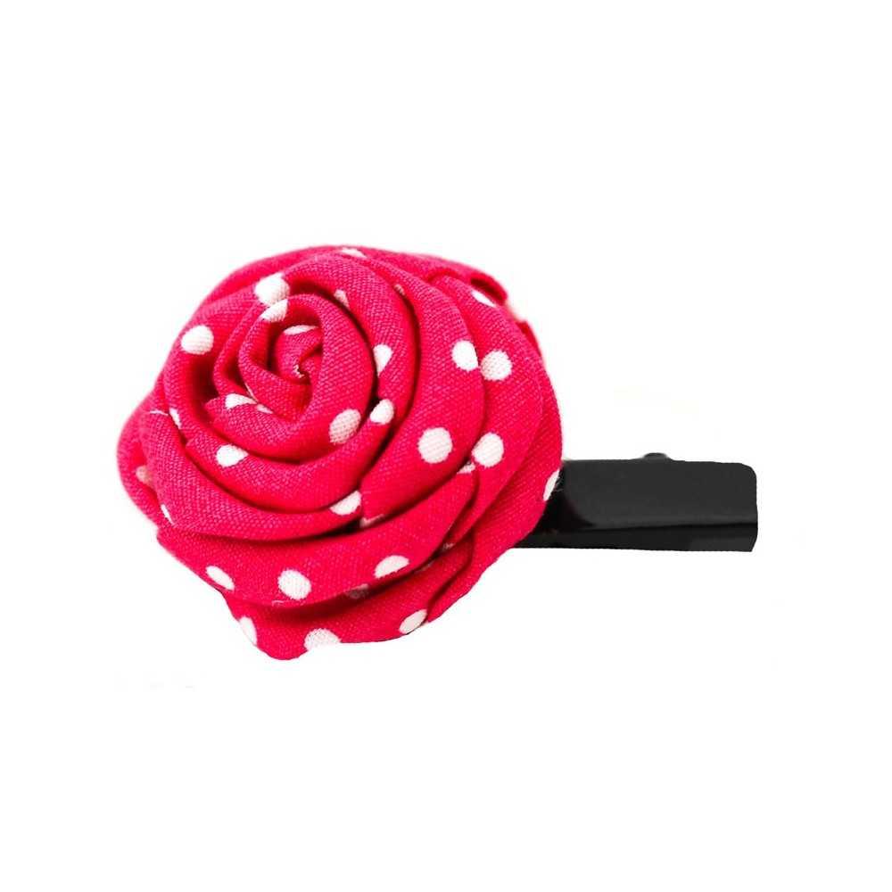 barrette originale en forme de rose framboise pois blancs. Black Bedroom Furniture Sets. Home Design Ideas