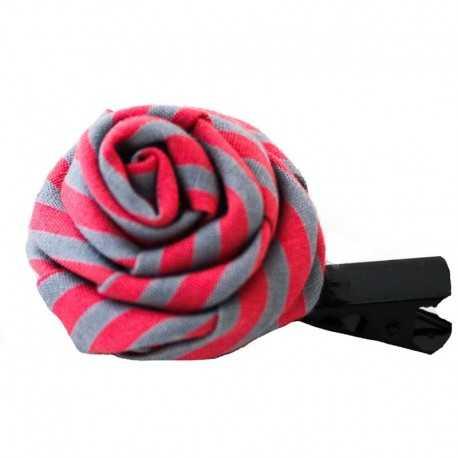 Barrette rose rouge et grise