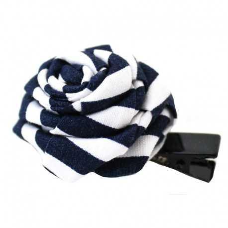 Barrette originale rose style marin bleu et blanc