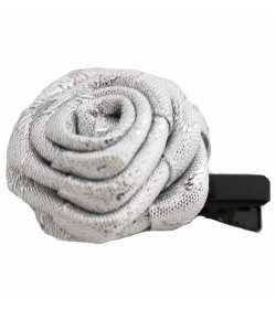 Barrette rose couleur argentée
