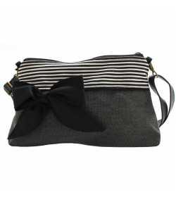 Mini sac bandoulière gris foncé rayé