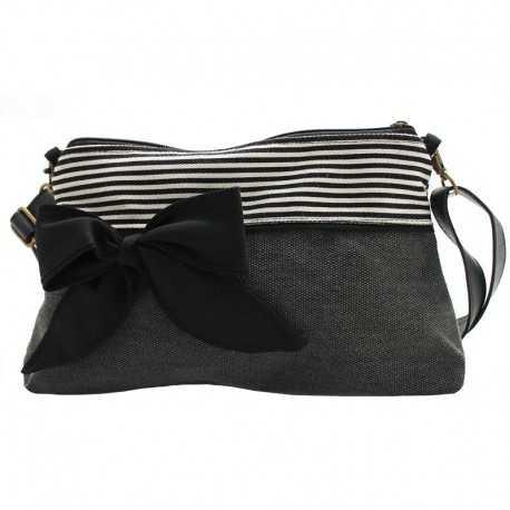 Mini sac bandoulière femme gris foncé rayé