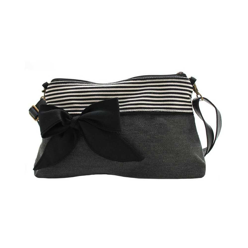 Sac à Bandoulière Femme Gris : Mini sac bandouli?re femme gris fonc? ray?