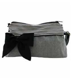 Mini sac bandoulière femme gris clair rayé