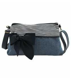 Mini sac bandoulière bleu rayé