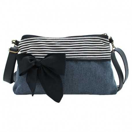 Mini sac bandoulière femme bleu rayé