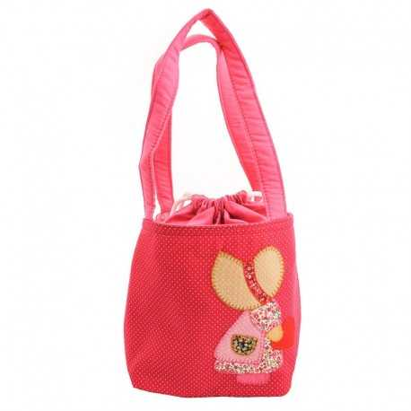 Sac fille framboise motif patchwork fillette