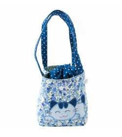 Sac fille liberty bleu motif patchwork chat