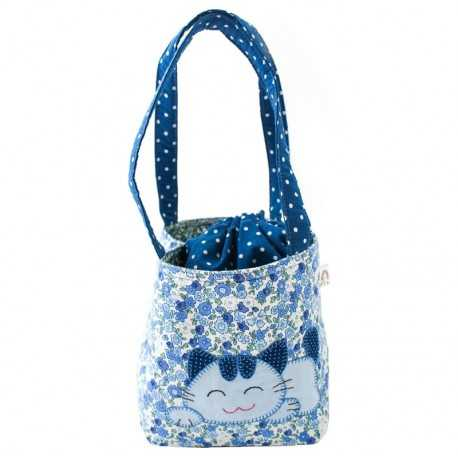Sac fille liberty bleu motif patchwork chat
