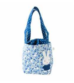 Sac fille liberty bleu motif patchwork lapin