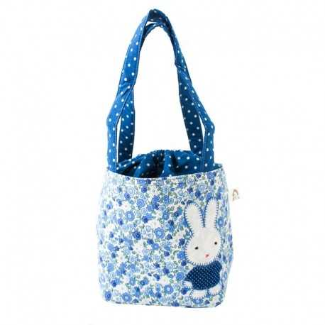 Sac fillette liberty bleu motif lapin