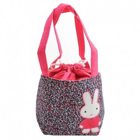 Sac fillette liberty rose mauve bleu motif lapin