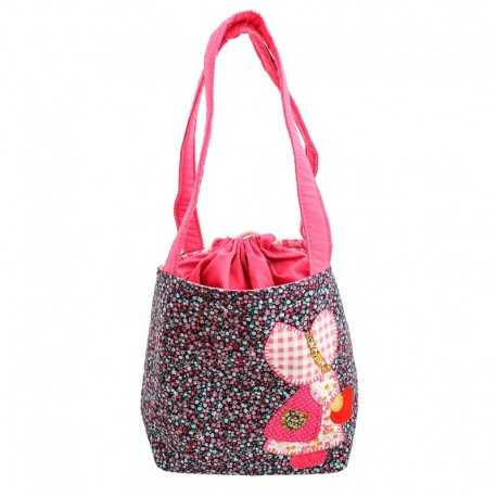 Sac fille liberty rose mauve bleu motif fillette