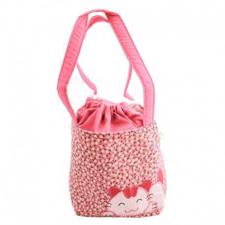 Sac fille liberty rose pâle motif chat