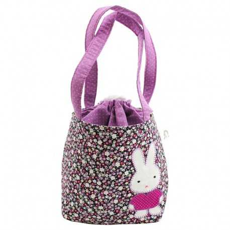 Sac fillette liberty mauve motif lapin