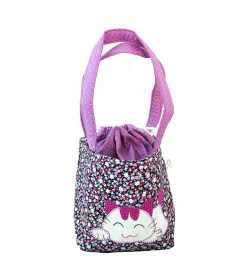 Sac fillette liberty mauve motif chat