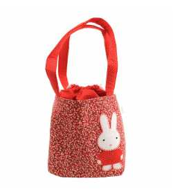 Sac fille liberty rouge motif patchwork lapin
