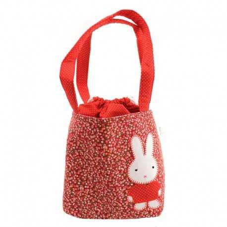 Sac fille liberty rouge motif patchwork lapin