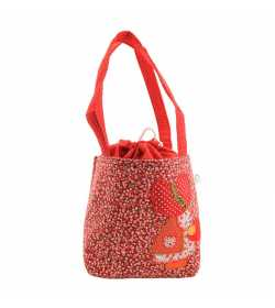 Sac fille liberty rouge motif patchwork fillette