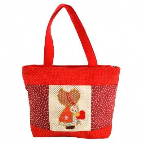Grand sac fille patchwork rouge motif fillette