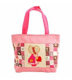Grand sac fille patchwork rose motif fillette