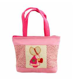 Grand sac patchwork liberty rose pâle motif fillette