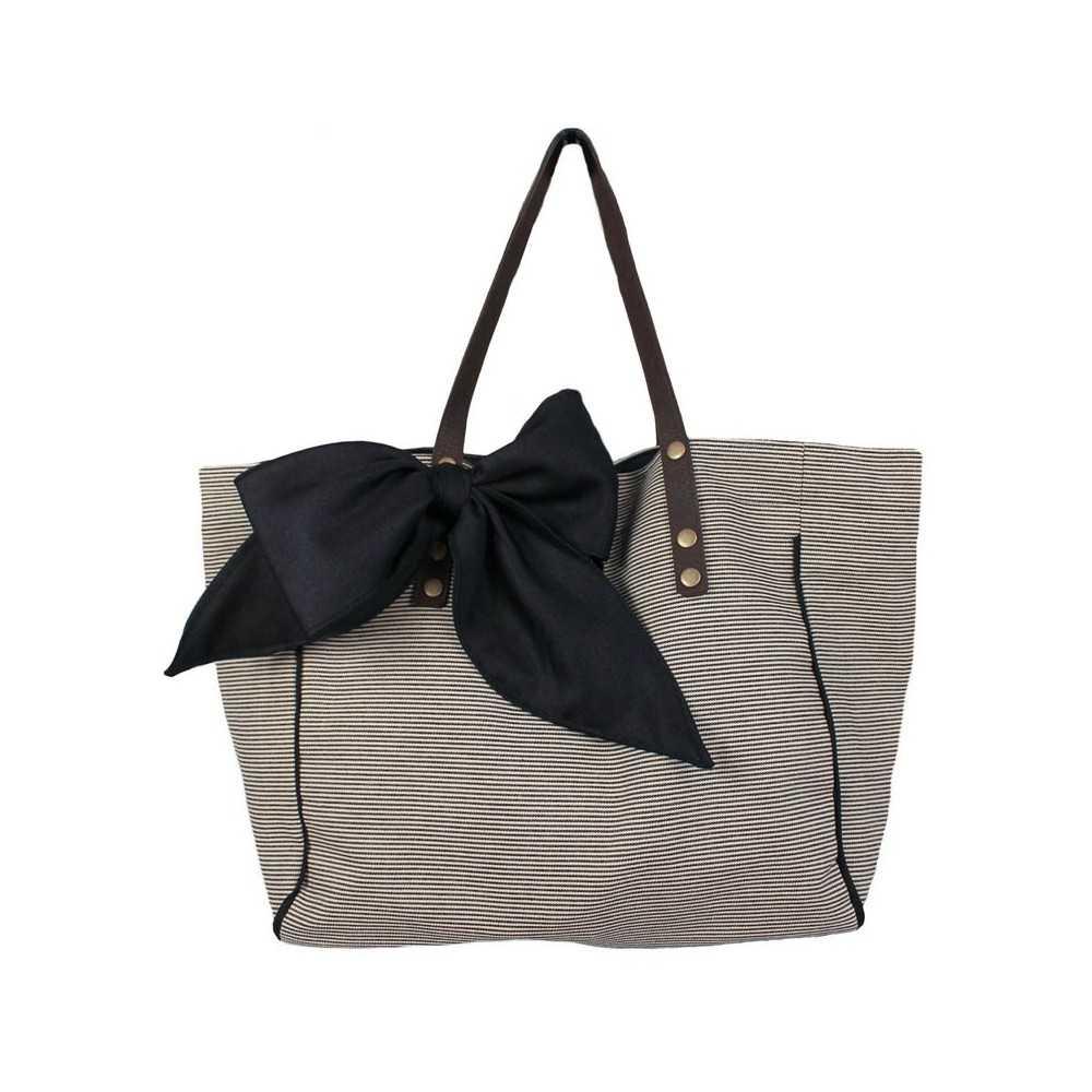 sac cabas femme ray noir et blanc. Black Bedroom Furniture Sets. Home Design Ideas