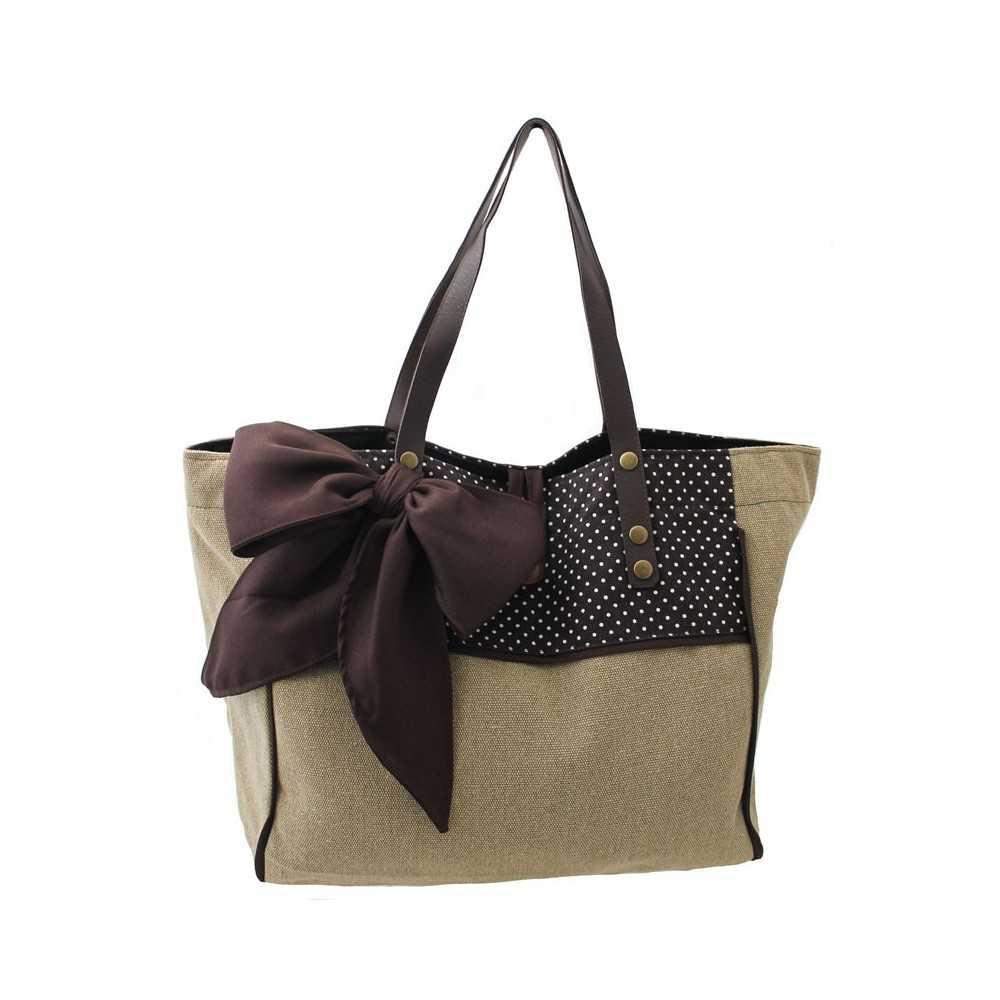 sac cabas femme bicolore camel et marron. Black Bedroom Furniture Sets. Home Design Ideas