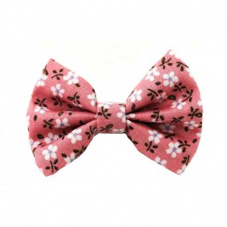 Barrette petit noeud liberty rose pâle