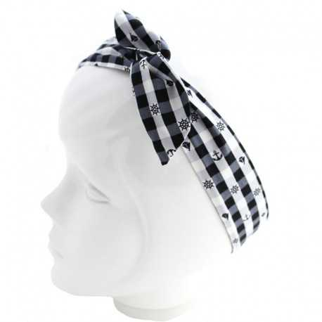 Bandeau cheveux marin blanc et noir