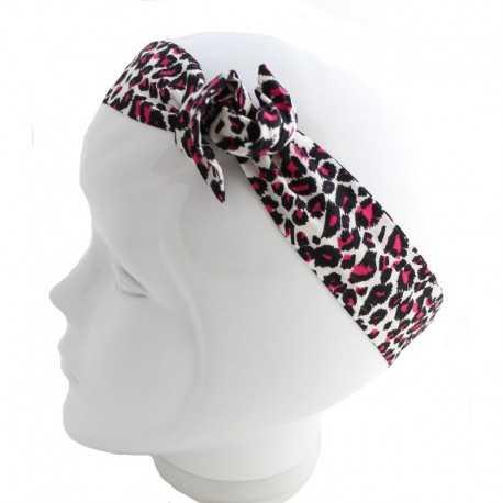 Bandeau cheveux léopard noir et rose
