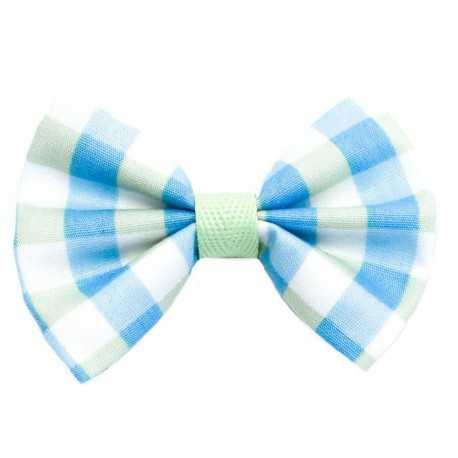 Barrette noeud à carreaux bleus et verts